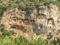 Kaunian rock tombs from Dalyan, Ortaca, Turkey Royalty Free Stock Photo