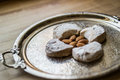 Kavala Cookie from Greece in a Silver Tray. Royalty Free Stock Photo