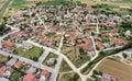 Kavallari村庄,希腊鸟瞰图 免版税库存图片
