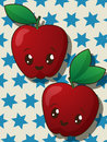 Kawaii apple icons style drawing Royalty Free Stock Photo