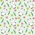 Kawaii background with cute pandas Stock Photo