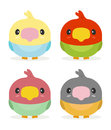 Kawaii birds cute set of Stock Photography