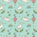 Kawaii bunny and bird seamless pattern