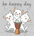 Kawaii cat characters with a drum