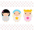 Kawaii christmas angels set cute vector illustration Royalty Free Stock Image