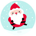 Kawaii christmas santa on snowing background adorable character vector illustration Royalty Free Stock Photography