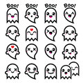 Kawaii cute ghost for halloween icons set vector of character isolated on white Stock Photo