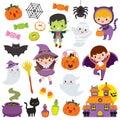 Kawaii cute Halloween Clipart Set Royalty Free Stock Photo