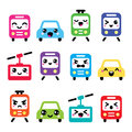 Kawaii cute icons car bus train tram and gondola vecotr set of transport characters cars Royalty Free Stock Photography