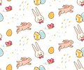 Kawaii easter bunny with egg seamless background
