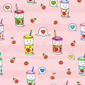 Kawaii food on pink background animation characters drawing seamless pattern сherry juice Stock Image