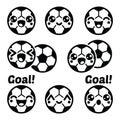 Kawaii football or soccer ball - cute character icons set Royalty Free Stock Photo