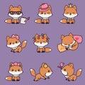 9 kawaii foxes icons set Royalty Free Stock Photo