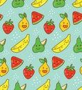 Kawaii fruit seamless pattern with lemon, strawberry etc