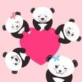 Kawaii funny panda white muzzle with pink cheeks and big black eyes.