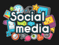 Kawaii gadgets social media items. Doodles with pretty facial expression. Illustration of phone, tablet, globe, camera Royalty Free Stock Photo