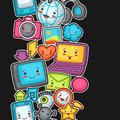 Kawaii gadgets social network seamless pattern.
