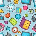 Kawaii gadgets social network seamless pattern.