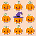 Kawaii halloween pumpkins Royalty Free Stock Photo