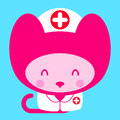 Kawaii little pink girl cat nurse doctor cartoon drawing of an adorable kitty dressed as a or in a white uniform and cap with a Stock Photos