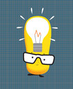 Kawaii manga style cute cartoon character with lightbulb idea simple modern the concept of inspiration or thinking Stock Images