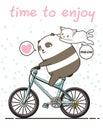 Kawaii Panda Is Riding A Bicyc...