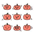 Kawaii Pumpkins Halloween Doodle Style Cartoon Hand Drawn Set