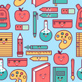 Kawaii school seamless pattern with cute education supplies. Royalty Free Stock Photo