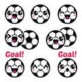 Kawaii soccer ball, football icons set Royalty Free Stock Photo
