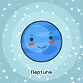 Kawaii space card. Doodle with pretty facial expression. Illustration of cartoon neptune in starry sky