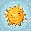 Kawaii space card. Doodle with pretty facial expression. Illustration of cartoon sun in starry sky