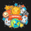 Kawaii space card. Doodles with pretty facial expression. Illustration of cartoon sun, earth, moon, rocket and celestial