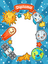 Kawaii space diploma. Doodles with pretty facial expression. Illustration of cartoon sun, earth, moon, rocket