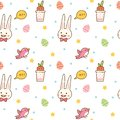 Kawaii spring seamless pattern with bunny, egg hunting, bird and carrot