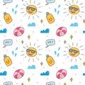 Kawaii summer themed seamless pattern