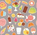 Kawaii sweet food stickers pattern