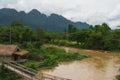 Kayak boat trip in river at vangvieng laos Royalty Free Stock Photo