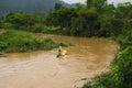 Kayak boat trip in vangvieng laos Royalty Free Stock Photo
