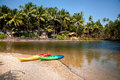 Kayak boats at Goa beach Royalty Free Stock Photo