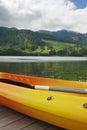 Kayak and canoe at Blue Lake or Lagoa Azul in Sete Cidades  Sao Miguel Azores island Portugal Royalty Free Stock Photo