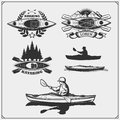 Kayak and canoe emblems, labels, badges and design elements. Print design for t-shirts.