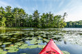 Kayak on Lake with lily pads Royalty Free Stock Photo