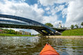 Kayak paddling on river in city of vilnius Stock Images