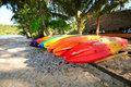 Kayak a row of colorful prepare for traveller kood island thailand Royalty Free Stock Photography