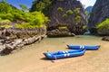 Kayak trip to the island on Phang Nga Bay Royalty Free Stock Photo