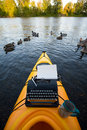 Kayak with a typewriter Stock Images