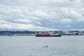 Kayaker on Elliot Bay, Seattle, WA