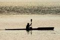 Kayaker silhouette. Royalty Free Stock Photo
