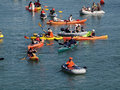 Kayakers and boaters paddle in mccovey cove hoping for a homeru san francisco ca october homerun ball during the nlcs game on oct Royalty Free Stock Image