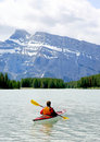 Kayaking in Banff Royalty Free Stock Image